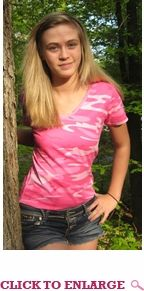Lady Belle's Women's V-Neck Short Sleeve T-shirt - New Pink Camo