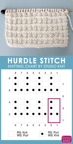 to Knit the Hurdle Stitch with Studio Knit. Hurdle Stitch Knitting Chart with Free Written Pattern and Video Tutorial by Studio KnitSuper helpful! Hurdle Stitch Knitting Chart with Free Written Pattern and Video Tutorial by Studio Knit Knitting Stiches, Knitting Charts, Loom Knitting, Knitting Needles, Knitting Patterns Free, Free Knitting, Baby Knitting, Stitch Patterns, Crochet Patterns