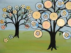 BLooming tree of life folk art Original Painting on by icColors, $75.00
