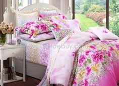 Florid Cotton 4 Piece Colorful Floral Active Print Comforter Sets