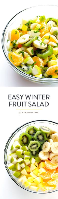 This Easy Winter Fruit Salad recipe is made with seasonal ingredients, sweetened with a touch of honey and lime juice, and it's so pretty and fresh and delicious! | gimmesomeoven.com
