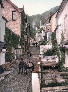 The High Street of Clovelly, Devon, UK in the early 1900, This is one place that never changes, they still use donkeys for transporting everything, a complete gem!