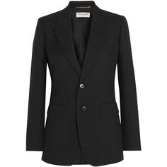 Saint Laurent Wool-gabardine blazer (600.990 HUF) ❤ liked on Polyvore featuring outerwear, jackets, blazers, saint laurent, black, gabardine jacket, wool blazer, tailored blazer, tailored jacket and shoulder pad blazers