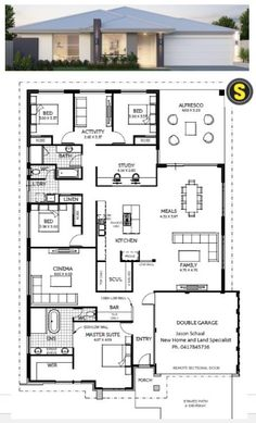 My opinion - Plenty of options. Extend kitchen into a smaller study. Or remove activity making the rear bedrooms larger, using the study as an activity. My House Plans, House Layout Plans, 4 Bedroom House Plans, Family House Plans, Modern House Plans, Small House Plans, House Layouts, House Floor Plans, Building Plans