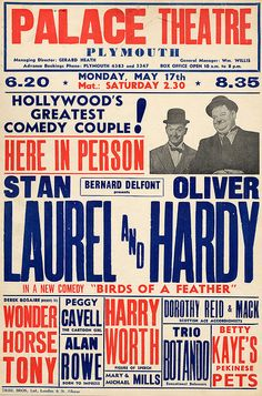 Birmingham Hippodrome Theatre Poster Laurel and Hardy