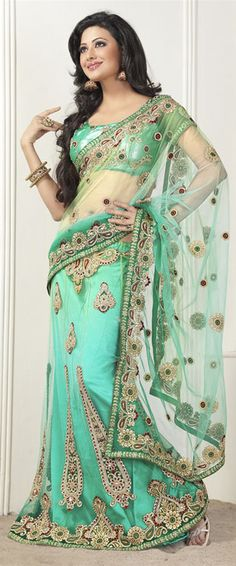 Sea Green Color Net Lehenga Style Saree