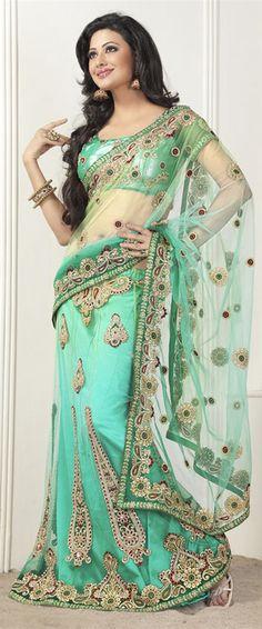Sea Green Color Net Lehenga Style Saree