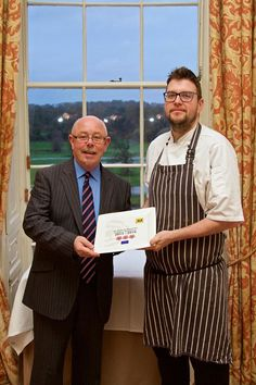 Ken Harker, Head Chef at the Lady Helen, displays the restaurants rosette award with Martin Gallagher, Operations Manager at Mount Juliet Estate. Mount Juliet, Operations Management, Casual Dinner, 5 Star Hotels, Wine Recipes, Restaurants, Dining, Lady, Food