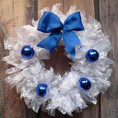 Ruffled Organza Snow Wreath | This DIY wreath can be customized for your home.