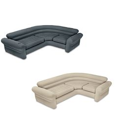 68575VMThis Intex Inflatable Couch is a Corner Sofa that works as a great addition to any living room, rec room, or even to take camping. With a waterproof flocked top surface, a vinyl bottom, and a neutral color, this sectional inflatable sofa fits any decor and environment. It has deep seats and wide armrests for a practical and sophisticated appeal. The 2 in 1 valve with extra wide openings allow for fast inflation and deflation and it folds compactly for storage or travel. Cup holders give y Beige Sectional, Sectional Sofa, Camping Glamping, Camping Gear, Spider Light, Corner Couch, Target, Basement Remodeling, Neutral Colors