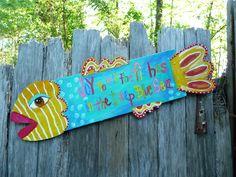 Springtime Fish Beach Decor Repurposed Folk Art. , via Etsy.