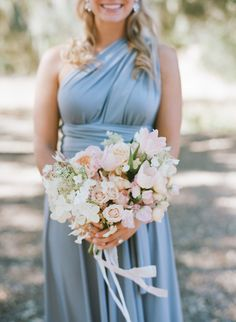 Goregous light blue bridesmaid dress.  Pantone Color of the Year: Serenity and Rose Quartz Wedding Ideas | Mid-South Bride