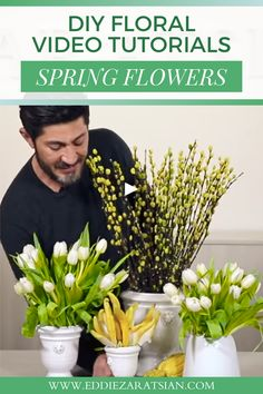 Professional tips on how to create your own DIY spring floral centerpieces. 5 beautifully simple arrangements to do at your home! Easy to find florals and straightforward designs will be sure to brighten your home decor this spring. White Floral Arrangements, Succulent Arrangements, Floral Centerpieces, Diy Bouquet, Bouquets, Floral Event Design, Spring Wedding, Diy Wedding, Wedding Ideas