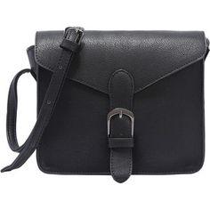 Faux Leather Buckle Strap Flap Bag - Black