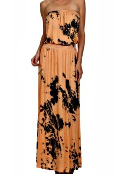 Strapless tye dye peach and black dress.  Soft and lightweight, perfect for the day, or great for a dinner with a pair of your go-to heels!  Fit is true to size, length is perfect for heels or if you choose flats. Tye Dye Dress by ENTI. Clothing - Dresses - Strapless Clothing - Dresses - Printed Clothing - Dresses - Maxi Indiana