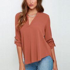 Buy Chicloth Rosy V Neck Loose Fitting Chiffon Blouse,Cheap Womens Shirts online,Cheap Blouse Under Pull Orange, Peach Orange, Blue V, Royal Blue, Textiles, Chiffon Tops, Chiffon Shirt, Long Sleeve Tops, Couture