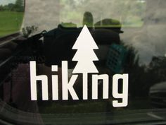Hiking or camping  vinyl car graphic decal.  Bumper Sticker. Car Window Decal.  Hiking decal. Campground. Vacation. Camp. READY to SHIP