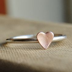 Copper and sterling silver heart ring. Love.