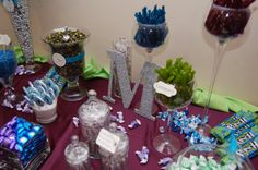 peacock themed candy buffet | Two Candy Buffets