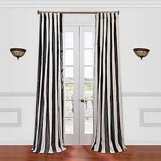 Half Price Drapes Presidio Faux Silk Taffeta Stripe Single Curtain Panel; 120'' L x 50'' W, Black