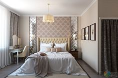 Интерьер в стиле легкая классика, светлая спальня