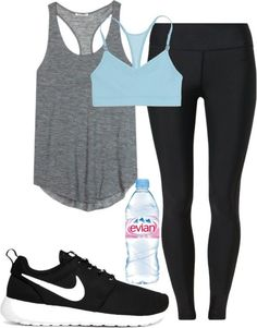 Workout outfit workout clothes sport outfits, fashion shoes e workout attir Summer Workout Outfits, Workout Attire, Workout Wear, Nike Workout, Summer Outfit, Yoga Workouts, Workout Tanks, Casual Summer, Workout Style
