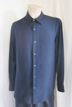 TOMMY BAHAMA Men's Black 100% SILK Long Sleeve Button Front Shirt M Medium #TommyBahama #ButtonFront