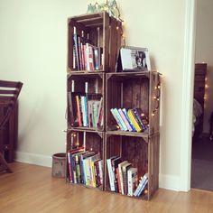 DIY bookshelf I made from crates