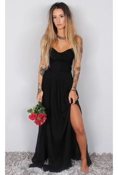 2018 Elegant Simple Prom Dress,Black Chiffon Prom Dress, Long Evening Dress Formal Dress Prom Dresses from flordabridal Fashion Photo, Boho Fashion, Girl Fashion, Dress Outfits, Dress Up, All Black Fashion, Simple Prom Dress, Black Prom Dresses, Dress To Impress