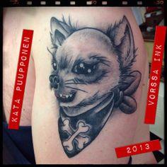 Healed!! https://www.facebook.com/VorssaInk, http://tattoosbykata.blogspot.fi, #tattoo #tatuointi #katapuupponen #vorssaink #forssa #finland #traditionaltattoo #suomi #oldschool #mandala #dog