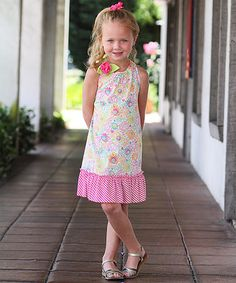 Another great find on #zulily! Pink & White Floral Ruffle Dress - Toddler & Girls #zulilyfinds