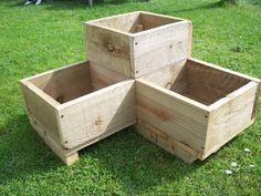 Corner wooden garden planter wood troughtimber herbs by Bogglewood