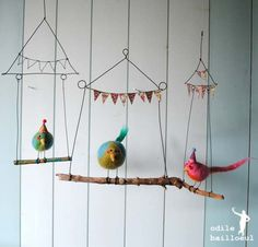 Hanging * Shabbiest of Chic * Banner * Bird on a Wire * DIY * Perfect Nursery Decor or Mobile Inspiration Wire Crafts, Felt Crafts, Diy And Crafts, Arts And Crafts, Paper Crafts, Diy For Kids, Crafts For Kids, Bird Mobile, Branch Mobile