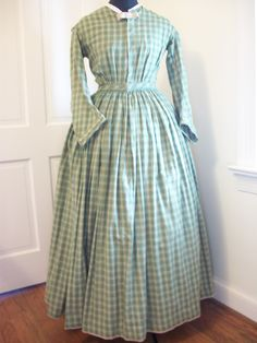 civil war dresses | Green Plaid Civil War Dress