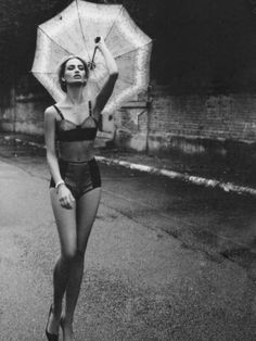 lingerie outside with umbrella