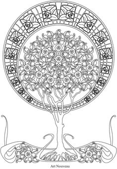 Creative Haven Trees of Life Coloring Book @ Dover Publications Coloring Pages For Grown Ups, Flower Coloring Pages, Mandala Coloring Pages, Animal Coloring Pages, Coloring Pages To Print, Coloring Book Pages, Crochet Quilt Pattern, Zentangle, Art Deco Tattoo