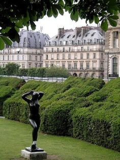 "~Le jardin des Tuileries, Paris ~*  ""Most recently renovated in 1990, Le Nôtre's formal design of the Tuileries garden has been kept intact. At the same time the park was separated from car traffic. Many modern sculptures were added and in 1999 the Passerelle de Solférino (now the Passerelle Léopold-Sédar-Senghor), a footbridge across the Seine opened, linking the Tuileries with the Musée d'Orsay"""