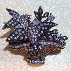 Vintage Jewelry Rhinestone Basket Flowers and by DLSpecialties, $8.00 SOLD