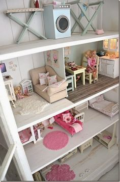 39 coolest kids toys you can make yourself pinterest dresser always wanted a doll house when i was a little girl wonderful idea to make a doll house out of book shelves it give you so many options for set up solutioingenieria Image collections