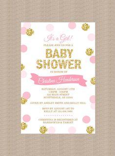 Polka Dot Baby Shower Invitation Pink Gold Glitter by Honeyprint