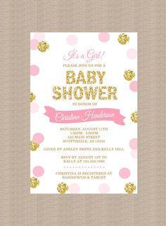pink and gold baby shower invitation, gold confetti baby girl, Baby shower invitations