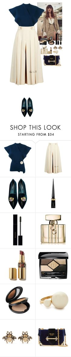 """""""Outfit"""" by eliza-redkina ❤ liked on Polyvore featuring Understated Leather, Jacquemus, Gucci, Nicholas Kirkwood, Christian Louboutin, Christian Dior, Cover FX, Kate Spade, Prada and outfit"""