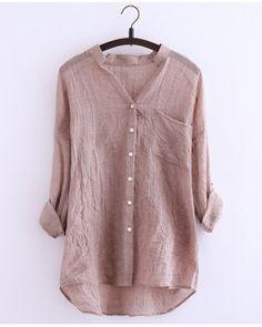 Wholesale Women Blouses Casual Loose Plus Size Cotton Linen Blouse Three Quarter Sleeve Shirts Women Tops Clothing, Shoes & Jewelry - Women - Plus-Size - Wantdo - women big size clothes - http://amzn.to/2lfaYAF