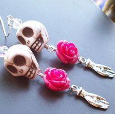 Items similar to Sugar Skull Pinup Inspired Sugar Skull Earrings on Etsy Sugar Skull Earrings, Halloween Jewelry, Jewlery, Personalized Items, Unique Jewelry, Inspired, Handmade Gifts, Etsy, Inspiration