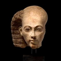 Princess - Head from a statuette. Probably from el-Amarna. Limestone. The Amarna c.1365-1347 B.C. | Ny Carlsberg Glyptotek, Copenhagen