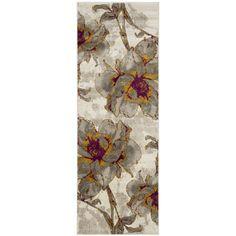 Safavieh Porcello Contemporary Floral Ivory/ Grey Rug (2'4 x 6'7) (PRL7733E-27), Size 2' x 7'