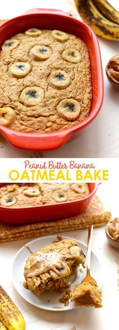 Looking to meal prep the most delicious breakfast on the planet? Make this Peanut Butter Banana Oatmeal Bake and top it with fresh bananas and a drizzle of PB!