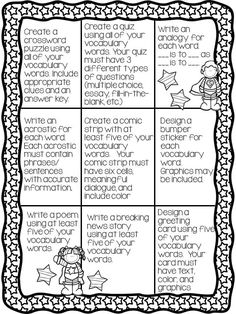 2 Vocabulary Choice Menus.  18 Different Activities