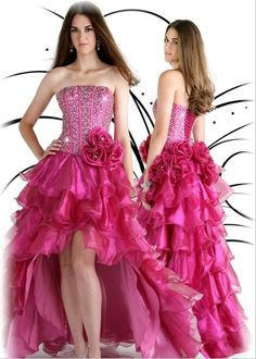 Strapless Hot pink Sweet 16 Dresses 561532 quinceanera-gown-dresses.com  High Low dd639a990bbc