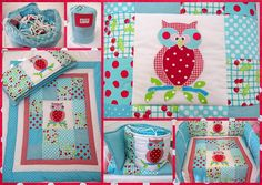 Owl set (crib); aqua blue and red with polka dot patterns. . . so cheerful!!